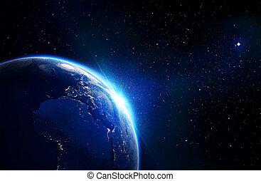 la terre, bleu, -, horizon, briller
