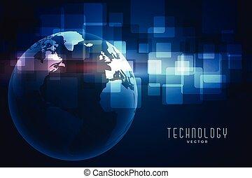 la terre, bleu, technologie numérique, fond, réseau