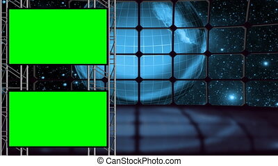 la terre, boucle, ensemble, vert, écran, studio