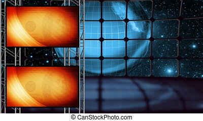 la terre, boucle, virtuel, ensemble, deux, écran