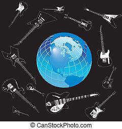 la terre, cercle, vecteur, guitares