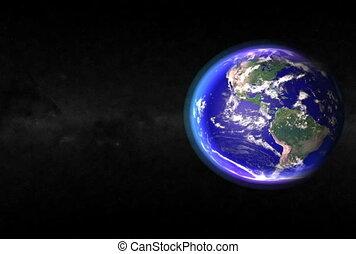 la terre, closeup., ntsc, cg.