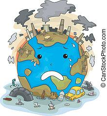 la terre, dû, pleurer, pollution