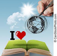 la terre, dessiné, amour, main