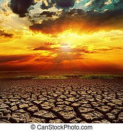 la terre, fantastique, sur, coucher soleil, toqué
