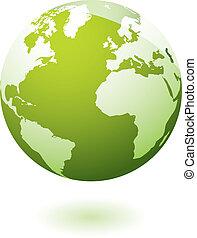 la terre, icône, vert, gel
