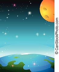 la terre, lune, scène, espace