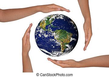la terre, mains, vue, autour de, satelite