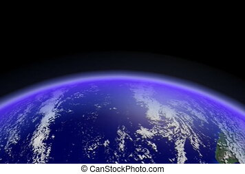 la terre, ntsc, loop., horizon, cg.