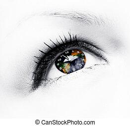 la terre, oeil, horloge