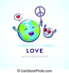 la terre, paix, capricieux, célébrer, lune, illustration