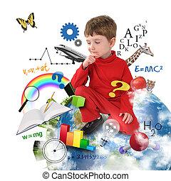 la terre, pensée, garçon, école, education