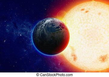 la terre, planète, espace