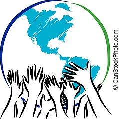 la terre, prendre, illustratio, soin, mains