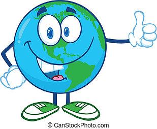 la terre, projection, caractère, pouces haut