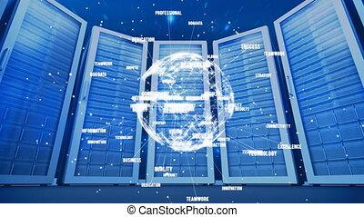 la terre, réseau, données, fond, serveur, numérique