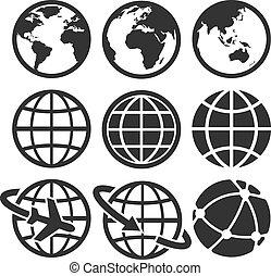 la terre, set., vecteur, icônes