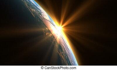 la terre, soleil, sur