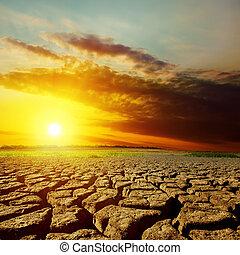 la terre, sur, dramatique, coucher soleil, sécheresse