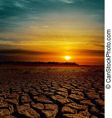 la terre, sur, dramatique, coucher soleil, toqué