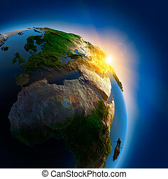 la terre, sur, extérieur, levers de soleil, espace