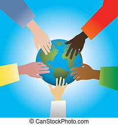 la terre, toucher, mains