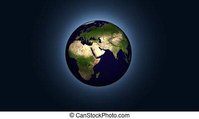 la terre, tourner, animation