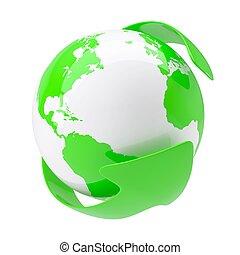 la terre, vert, autour de, flèche