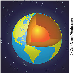 la terre, vue, cut-away, -, espace