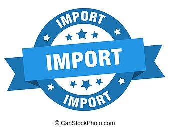 label., ruban, importation, signe, rond, isolé