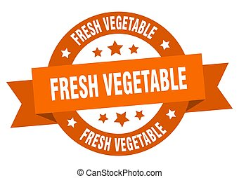 label., ruban, signe, frais, rond, légume, isolé