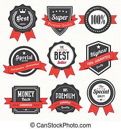 labels10, retro, ensemble, insignes, vendange