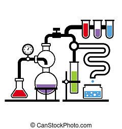 laboratoire, 3, infographic, ensemble, chimie