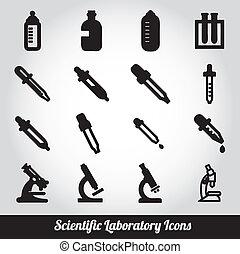 laboratoire, ensemble, scientifique, icônes