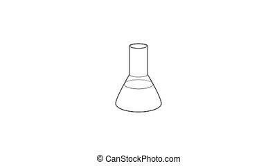 laboratoire, icône, flacon, animation