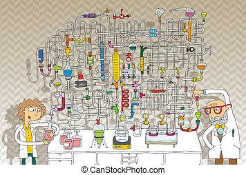 laboratoire, jeu, labyrinthe