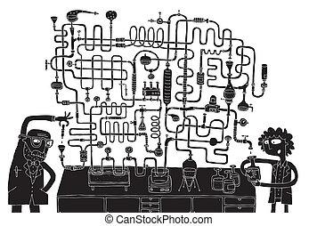 laboratoire, labyrinthe, jeu