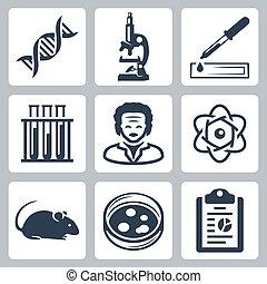 laboratoire, vecteur, ensemble, isolé, icônes