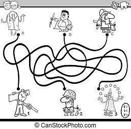 labyrinthe, activité, tâche, livre coloration