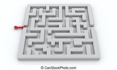 labyrinthe, aller, par, flèche rouge