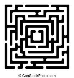 labyrinthe, blanc, izolated, rectangle