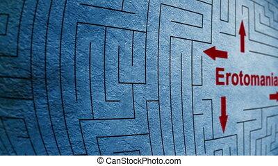 labyrinthe, concept, erotomania