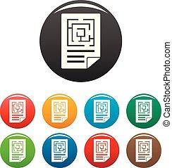 labyrinthe, couleur, ensemble, solution, icônes