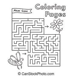 labyrinthe, jeu, dessin animé, abeille