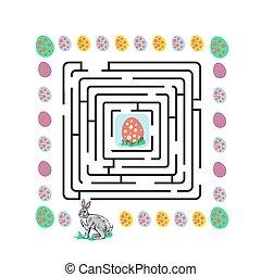 labyrinthe, lapin pâques, illustration