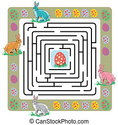 labyrinthe, oeufs, lapins, paques