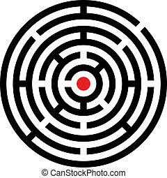 labyrinthe, vecteur, arrondi