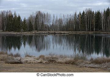 lac, carrière, abandonnés