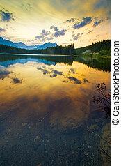 lac, coucher soleil, banff, herbert