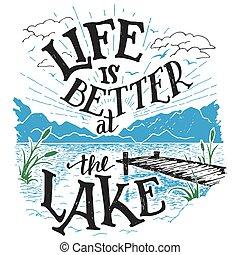 lac, hand-lettering, mieux, signe, vie